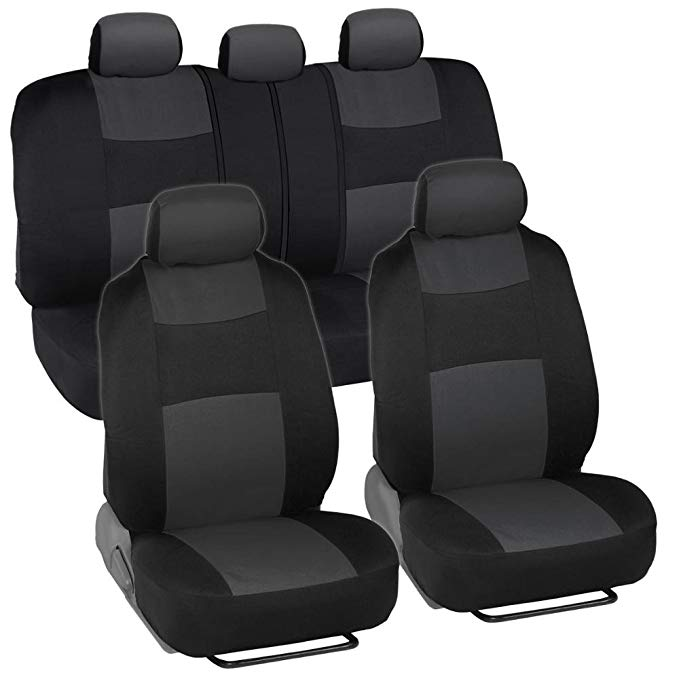 10. Universal Flat Cloth Car Seat Covers by FH Group