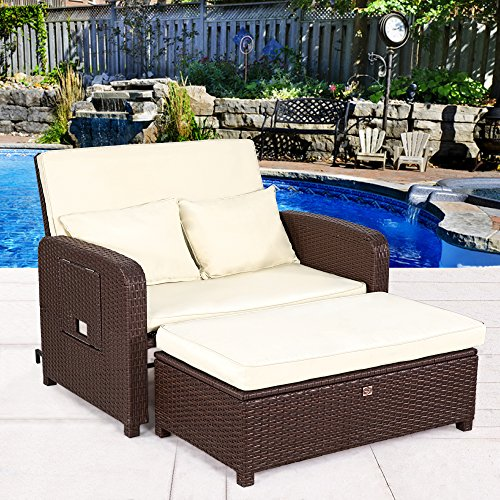 Cloud Mountain Outdoor Loveseat Recliner 2 Piece rattan Resin Loveseat