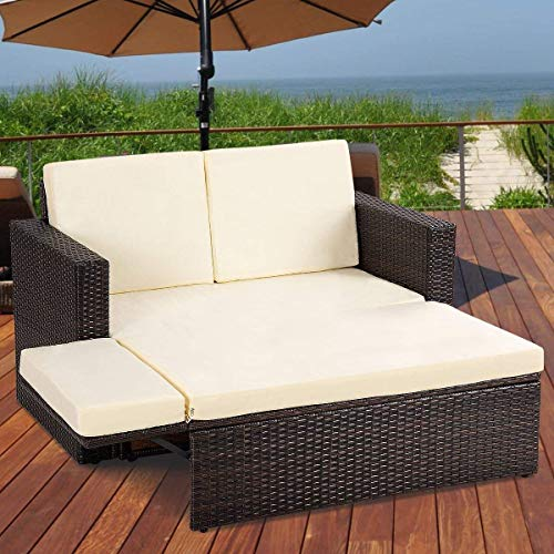 Tangkula 2 PCS Loveseat Outdoor Patio Wicker Rattan Love Seat Sofa Daybed Set