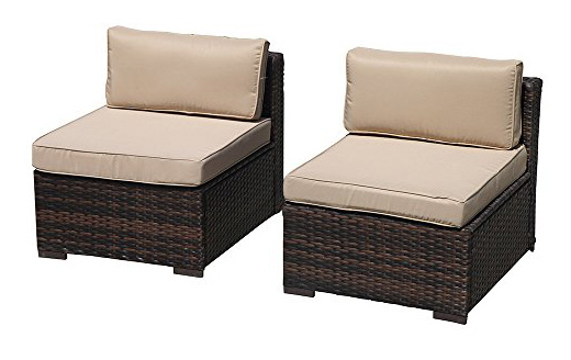 PATIORAMA Armless Chair,Outdoor Patio Loveseat Brown Rattan Wicker Sofa Chair