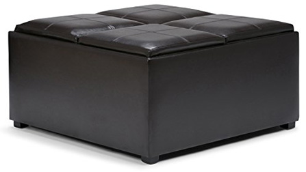 Simpli Home F-07 Avalon 35 inch Contemporary Square Storage Ottoman
