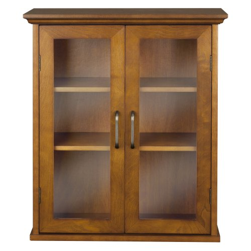 Elegant Home Fashion Anna Wall Cabinet with 2-Door, Oil Oak