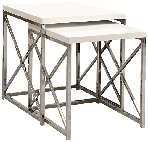 Monarch Specialties I 3025 Nesting Table, Chrome Metal Table Set