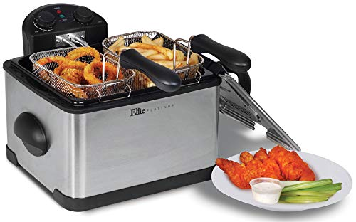 Elite Platinum EDF 401 TMaxi 1700 Watt Stainless Steel R Triple basket Electric Deep Fryer