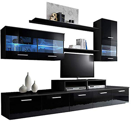 Paris Contemporary Design 74.8x98.4x17.7-Inch Wall Unit with LED