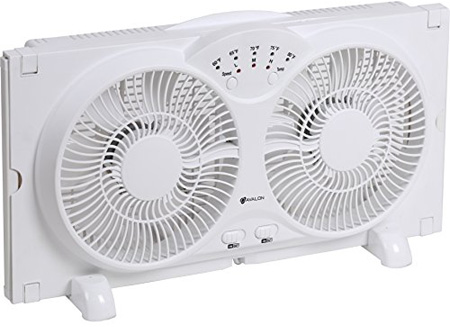 Genesis Twin Window Fan with 9 Inch Blades, High-Velocity Reversible AirFlow Fan