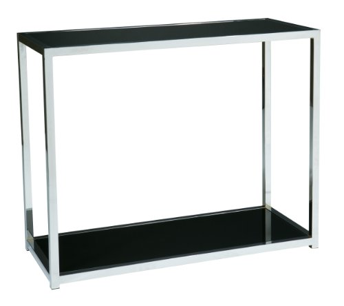 Modern Accent Table, Black Glass Top by AVE SIX