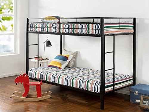 Zinus Aileene Easy Assembly Quick Lock Twin over Twin Classic Metal Bunk Bed