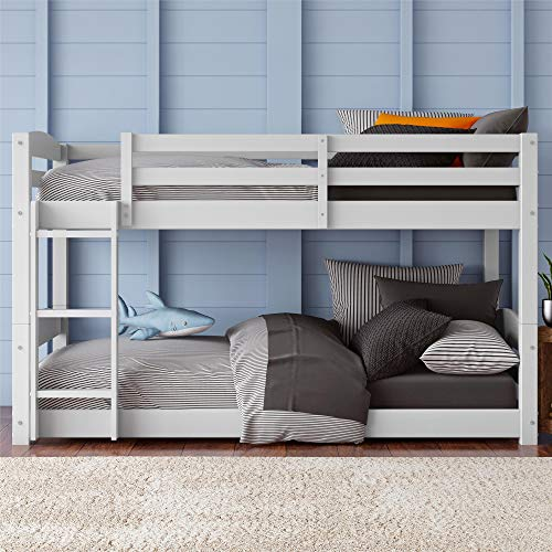 Dorel Living Phoenix Solid Wood Twin over Twin Floor Bunk Beds with Ladder and Guard Rail