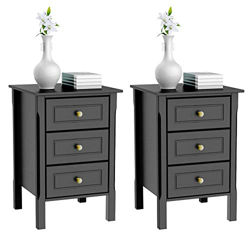 Yaheetech 3 Drawers Nightstand Tall End Table Storage Wood Cabinet Bedroom Side Storage