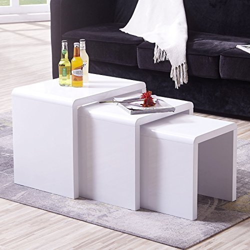 Mecor White Nesting Coffee Table, 3 Piece Modern End Side Table
