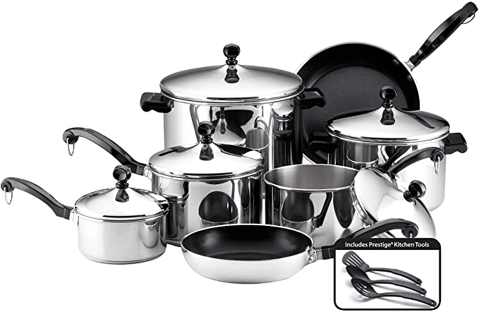 Farberware - 50049 Classic Stainless Steel Cookware Pots and Pans Set