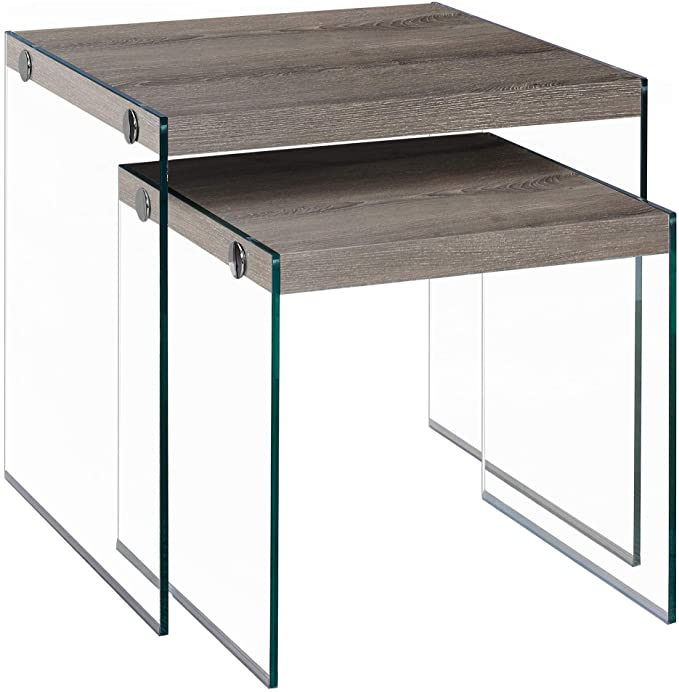 Monarch Specialties Tempered Glass Nesting Tables