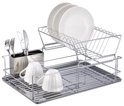 Home Basics 2 Tier Steel Dish Rack with Removable Utensil Cup