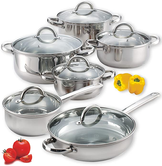 Cook N Home - 12-Piece Stainless Steel Cookware Set