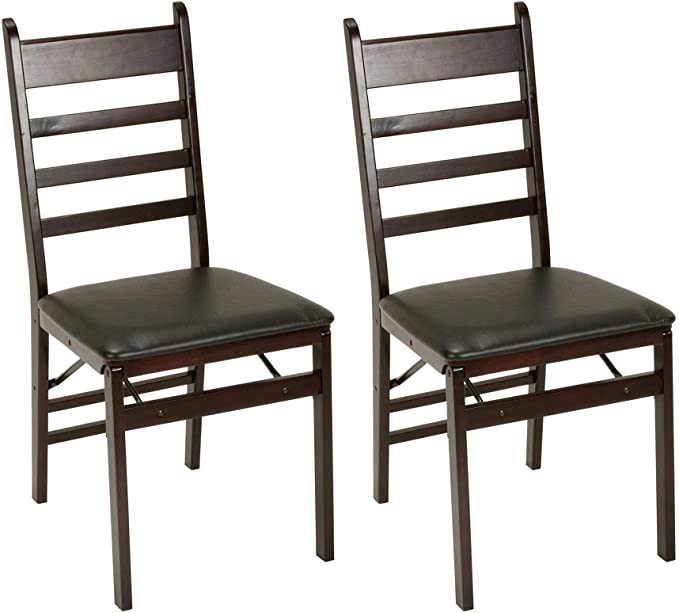 Cosco - Wood Folding Chair with Vinyl Seat and Ladder Back