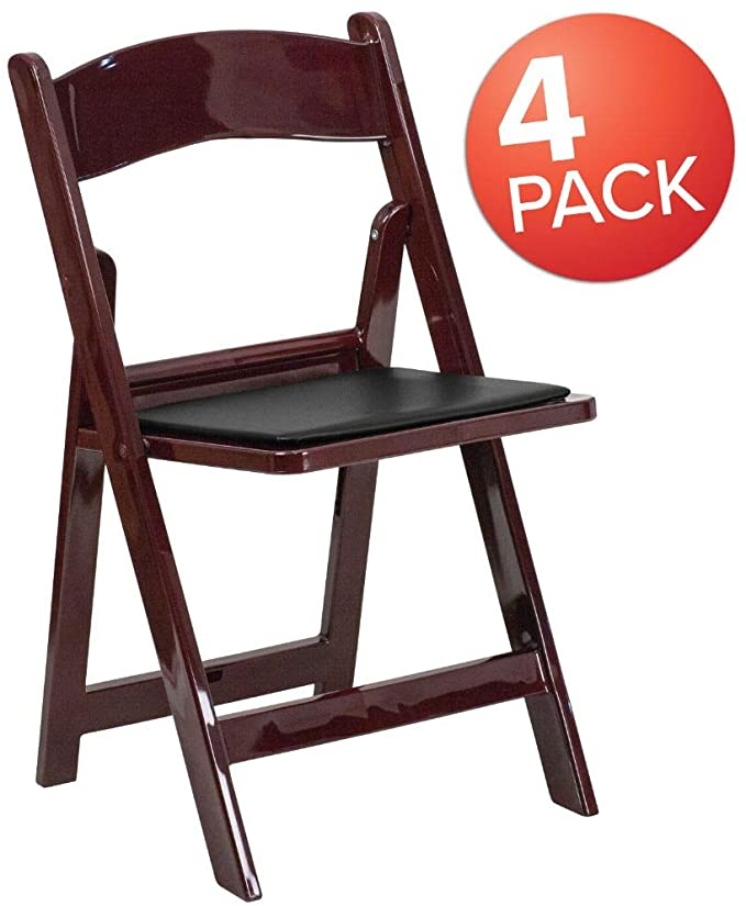 Flash Furniture - Folding Chair with Black Vinyl Padded Seat