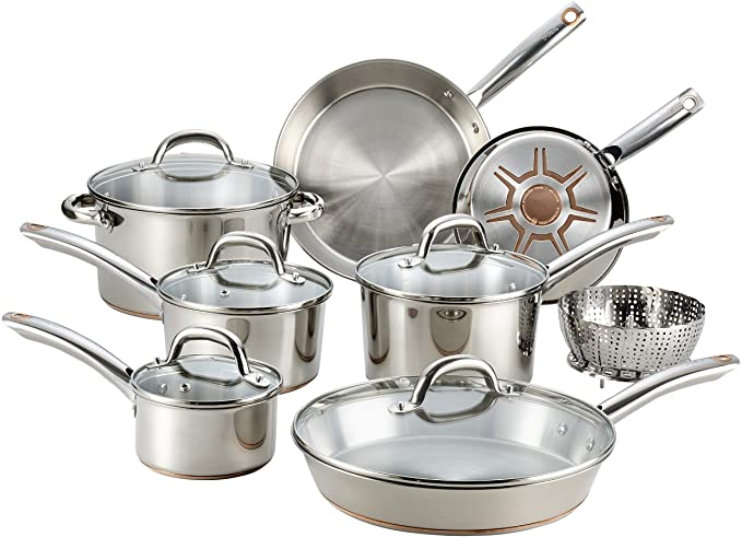 T-fal - C836SD Ultimate Stainless Steel Copper Bottom 13 PC Cookware Set