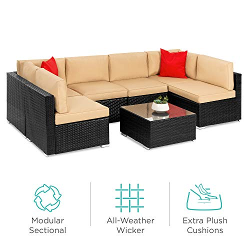 Best Choice Products Wicker Patio Furniture Conversation Set