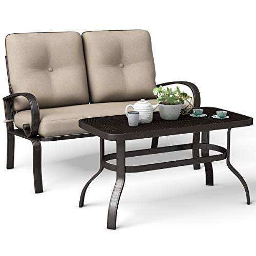 Giantex - Patio Loveseat with Coffee Table