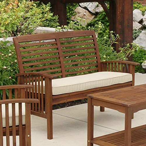 Walker Edison - Wood Outdoor Patio Ladder Back Loveseat Chair