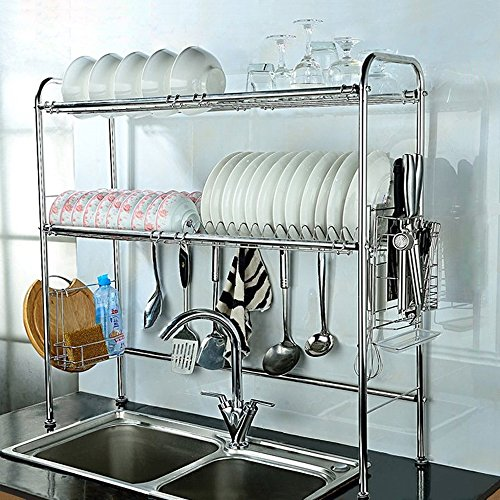 NEX 2 Tier Stainless Steel Dish Rack Nonslip with Length Adjustable