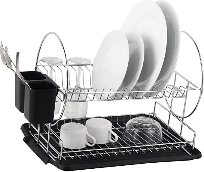 Neat-O Deluxe Chrome-plated Steel 2-Tier Dish Rack with Drainboard