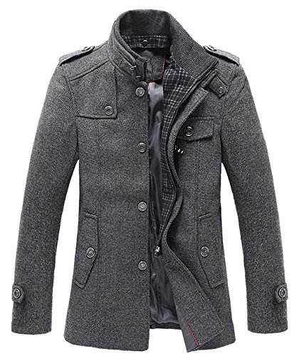 chouyatou - Men's Winter Stylish Wool Blend Single Breasted Military Peacoat