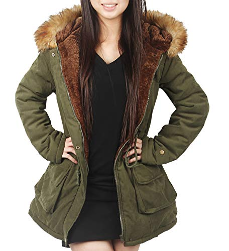 4How - Women's Hooded Parka Jacket Warm Winter Coat