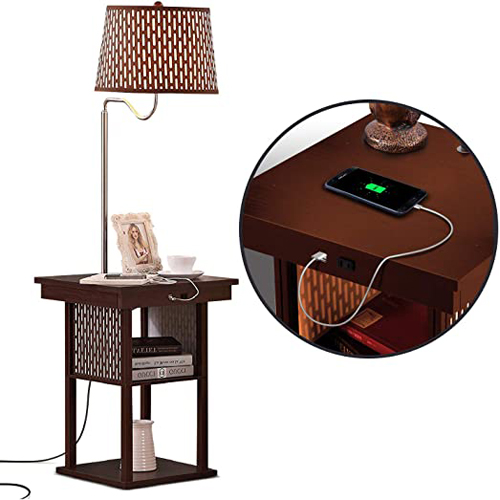Brightech Madison Narrow Nightstand with Built In Lamp