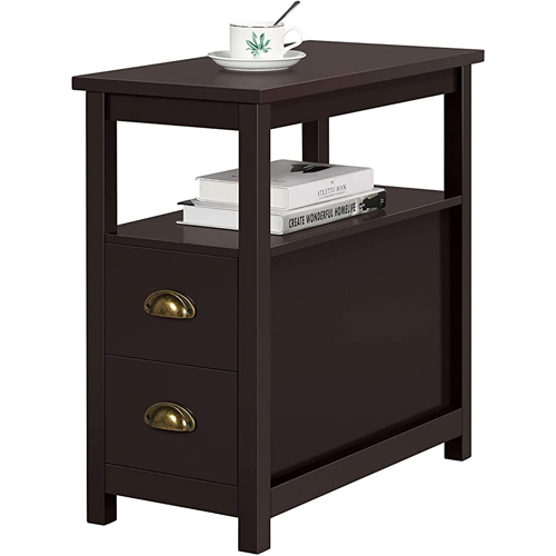 Yaheetech - Chairside End Table with 2 Drawer and Shelf