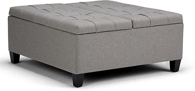 Simpli Home Wide Square Coffee Table Lift Top Storage Ottoman