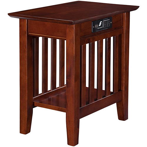 Atlantic Furniture Mission Chair Side Table with Charging Station