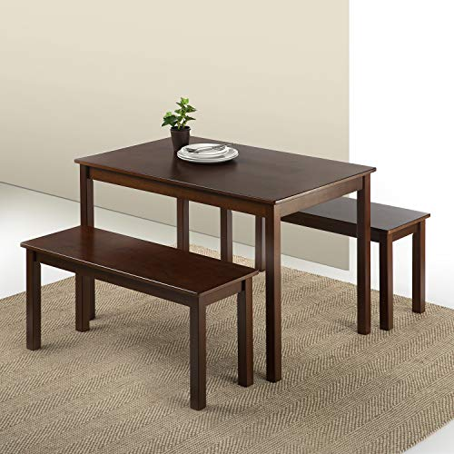 Zinus - Juliet Espresso Wood Dining Table with Two Benches