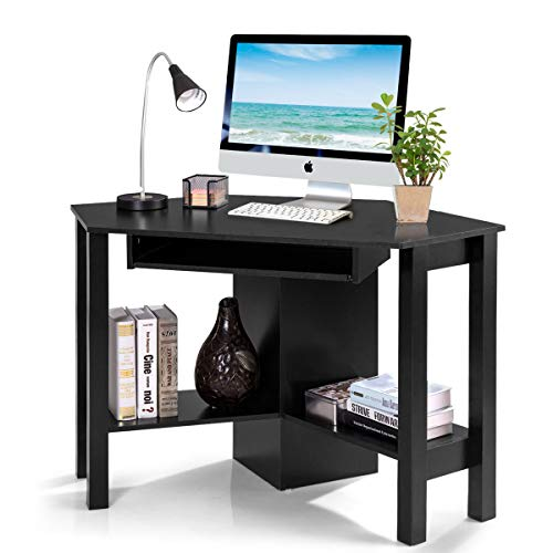 Tangkula Corner Desk with Keyboard Tray & Storage Shelves