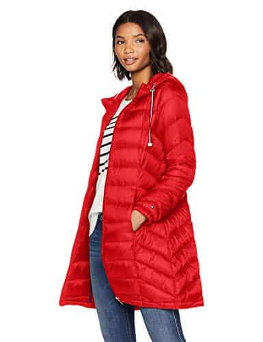 Tommy Hilfiger Mid-Length Chevron Quilted Jacket