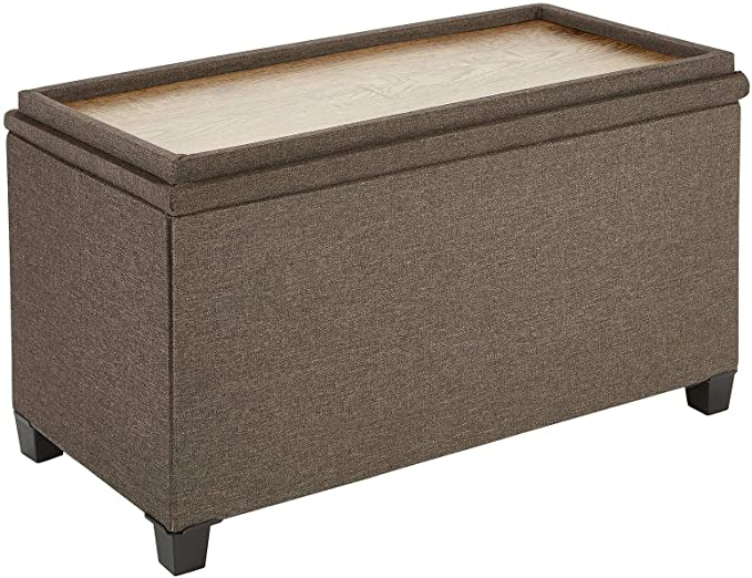 Fresh Home Elements Tray Coffee Table Ottoman with Storage