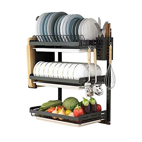 Ctystallove 3 Tier Black Stainless Steel Dish Drying Rack