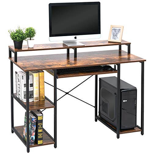 Topsky Computer Desk with Storage Shelves & Keyboard Tray