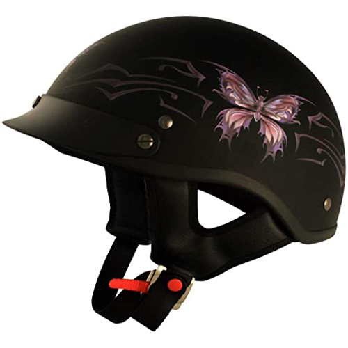 VCAN Cruiser Intricate Butterfly Motorcycle Half Helmet