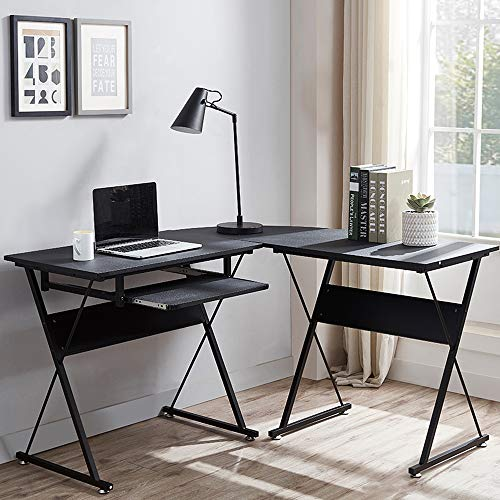 FRU L Shaped Computer Desk with Keyboard Tray
