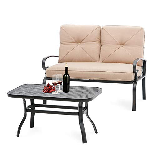 Oakmont - Outdoor Patio Loveseat Bench with Coffee Table