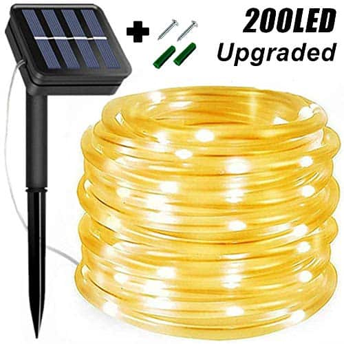 KUshopfast LED 8 Modes Outdoor Solar Rope String Lights